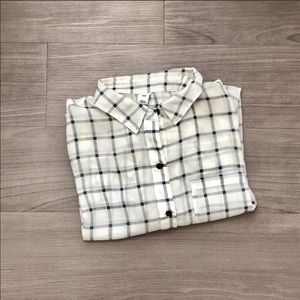 Old Navy Black White Grid Plaid Sheer Button Up